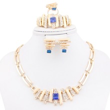 New Arrival Trend African Romantic Rhinestone jewelry 18K Gold Plate Necklace Earrings Set Bridal Wedding Jewelry Sets