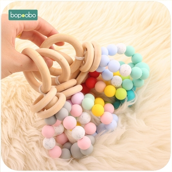 Bopoobo 8pcs Baby Silicone Rainbow Teether Silicone Beads Nursing Accessories Bracelet Sensory Toys Rattle Baby Teether