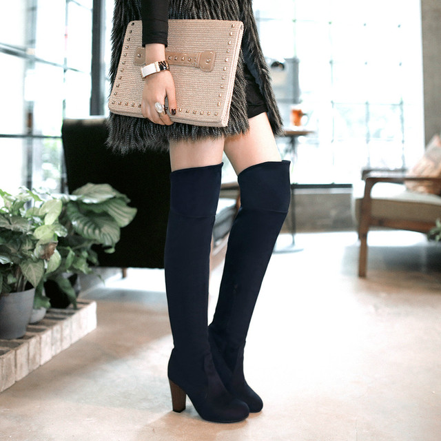 682fa2241a2f Plus size winter women chunky heel thigh high suede boots elastic slim long  boots lowland boots navy blue warm snow boots shoes