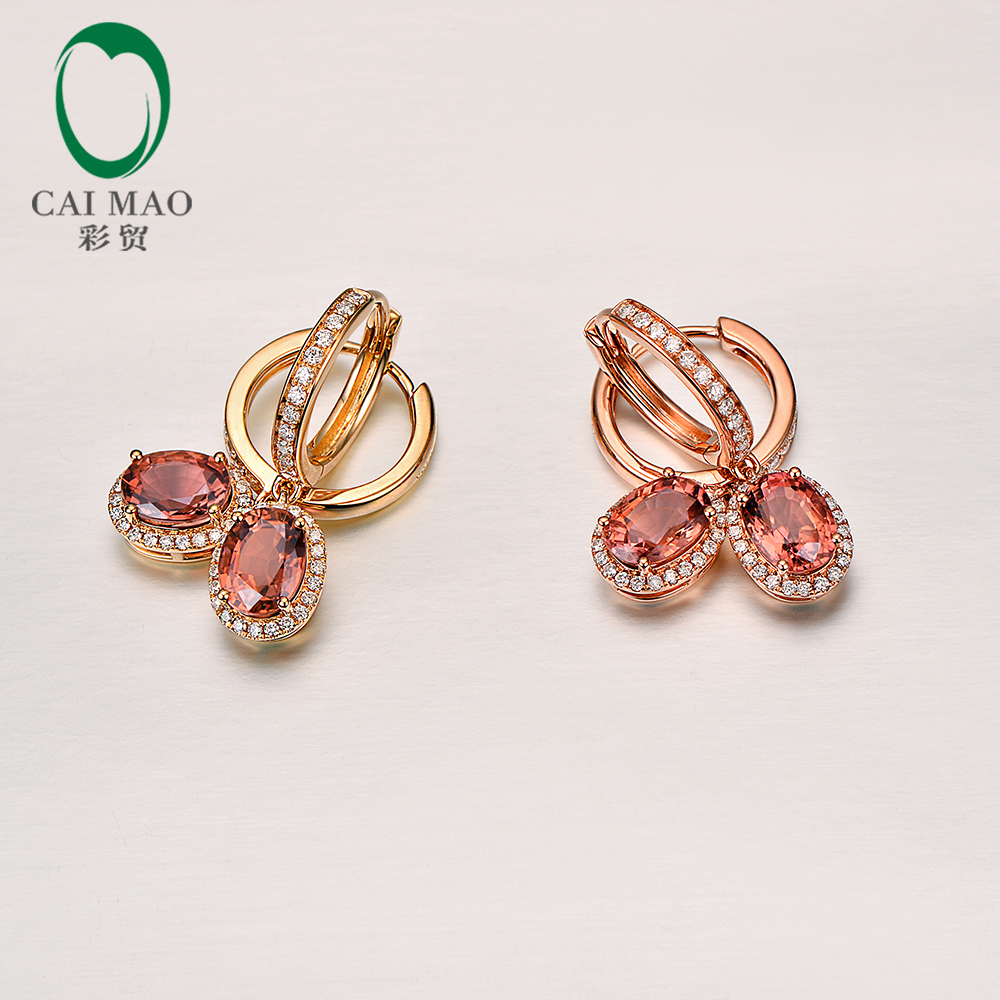 2 16ct Natural Tourmaline With H SI Pave Set Diamond 18k Rose Yellow Gold Dangle Earrings