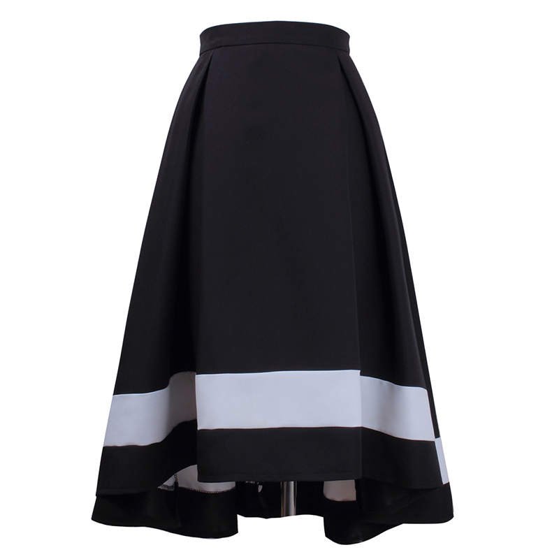 HSPL Women Vintage Skirt With High Waist Pleated 2018 Fashion Elegant Skirts With Zipper Behind Saias na altura do joelho