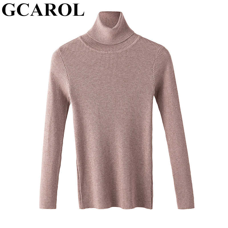 GCAROL 2019 Fall Winter Women Turtleneck Sweater Jumper Stretch Slim Crop Knit Pullover Render Upper Knitted Tops
