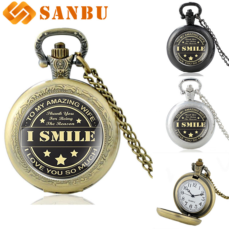 Fashion Bronze I Smile Glass Cabochon Pocket Watch Vintage Women Pendant Necklace Best Gift For Wife