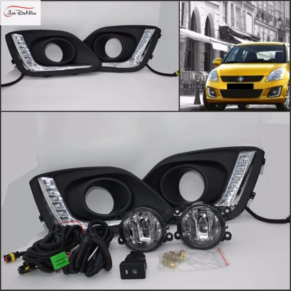 JanDeNing LED Daytime Runnin Fog Light DRL for SUZUKI SWIFT 2014 Clear Halogen bulb H11 LED Front Fog Lights Bumper Lamps Kit for infiniti fx35 37 45 50 ex35 37 h11 wiring harness sockets wire connector switch 2 fog lights drl front bumper led lamp