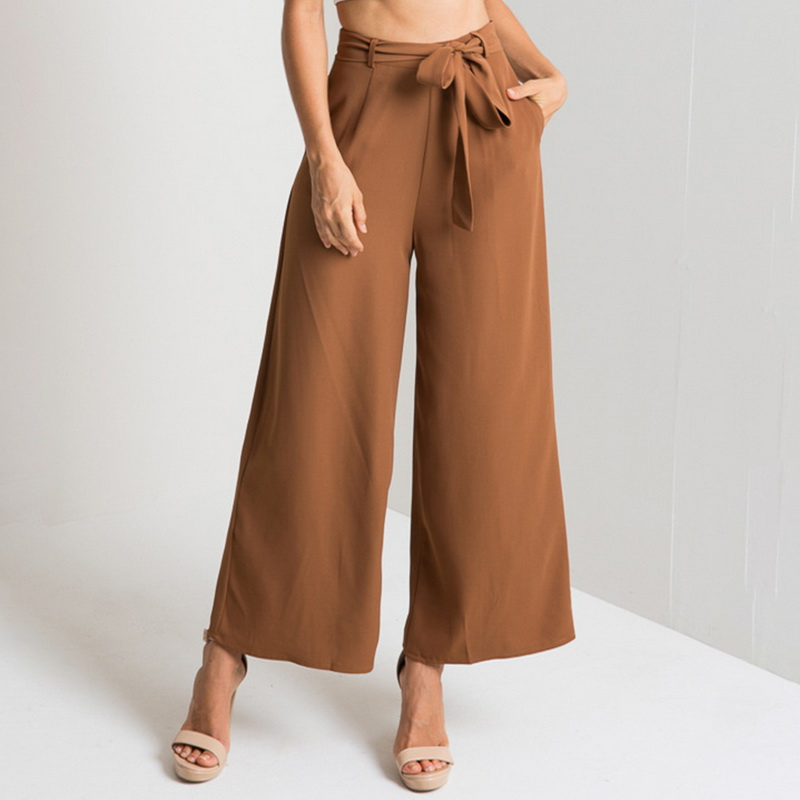LASPERAL 2019 Women Chiffon High Waist   Wide     Leg     Pants   Bow Tie Sweet Elastic Waist Loose Ankle-length   Pants   Trousers Pantalones