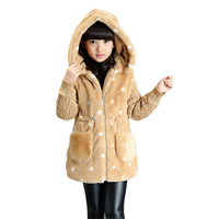 2017 Autumn Winter Jackets For Girls Clothing Children Outerwear Thicken Cartoon Coats Girls Plus Velvet Parkas