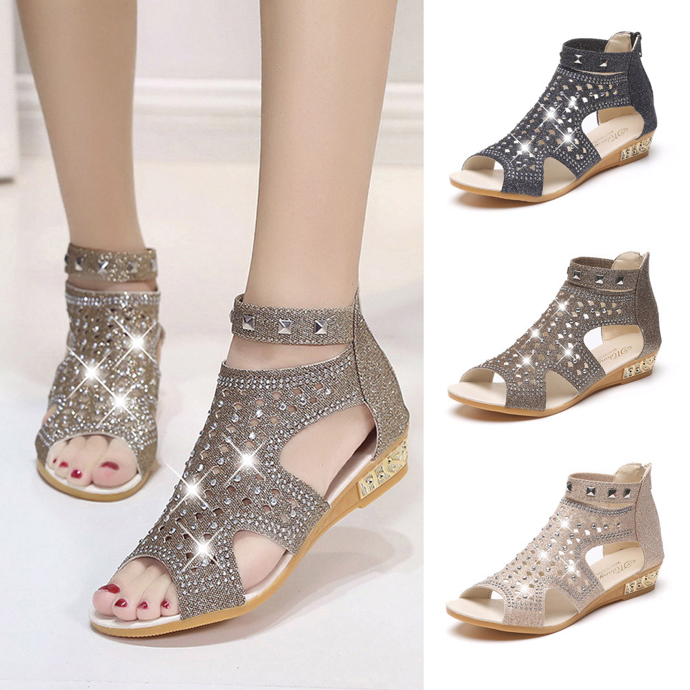 2018 Strap Heels Women Sandals Spring Summer Shoes Ladies Women Wedge Sandals Fashion Fish Mouth Hollow Roma Shoes in the summer of 2016 the new wedge heels with fish in square mouth denim fashion sexy female cool shoes nightclubs