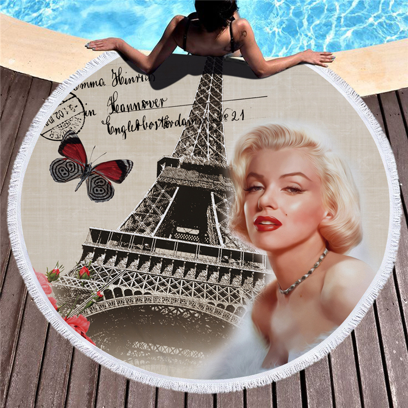 Casegrace Marilyn Monroe Travelling Retro Round Bath Towels Soft Microfiber Beach Towel With Tassel Yoga Mat Picnic Blanket