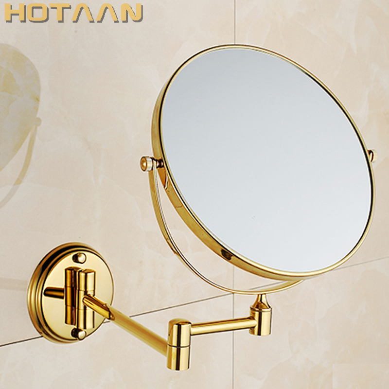 2014 Oral Hygiene Shaving Bathroom Mirror Wall Mounted gold brass 8 Inch Double Cosmetic Mirror 1
