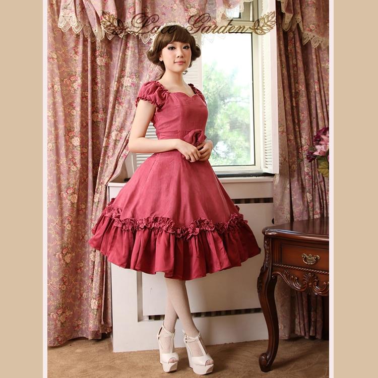 Vintage Lolita Palace élégant Hepburn rose foncé à volants arc robe de bal dames à manches courtes robe de princesse Simple et élégant