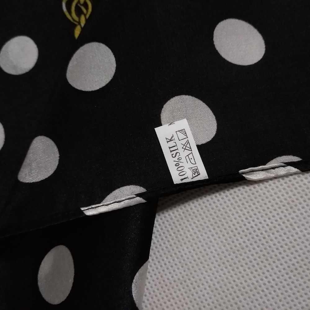 Europa America di Stile 100% Seta Piccola Piazza Sciarpa Stampata di Modo Rotondo Bianco Dot Catena Sciarpa Di Raso di Seta Femminile di Seta Pura sciarpa