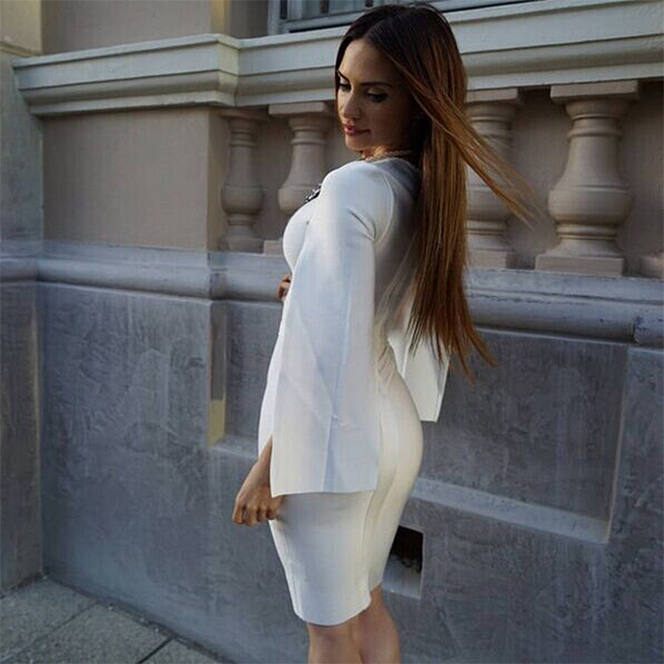 2019 New Summer Bandage Dress Women Celebrity Party White Batwing Sleeve O-Neck Elegant Sexy Night Out Club Dress Women Vestidos