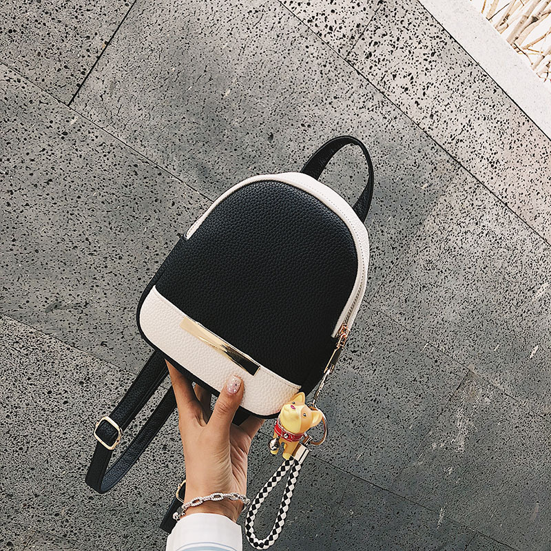 Miyahouse Female Pu Leather Casual Backpack Mini Shoulder Backpacks Hit Color Travel Rucksack For Women Small Backpack #2