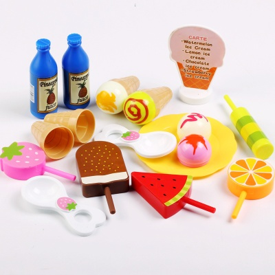 Plastic play house for children ice cream toy set dollhouse mini simulation food miniature kid house educational game girls baby
