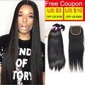 Annabelle Hair With Closure Brazilian Virgin Hair With Closure Virgin Straight Hair 4Bundles With Closure Good Cheap Weave