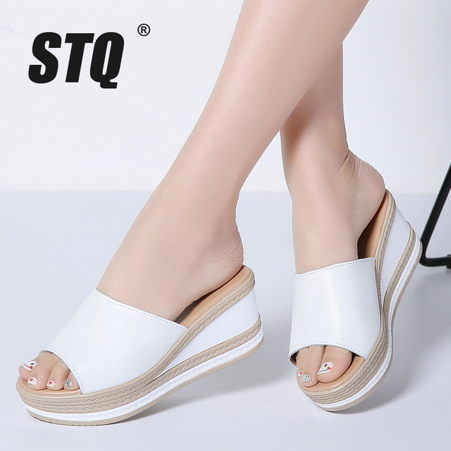 Shoes For Women Star Leatherette Wedge Heel Peep Toe Slippers Open Toe Sandals Casual Black White