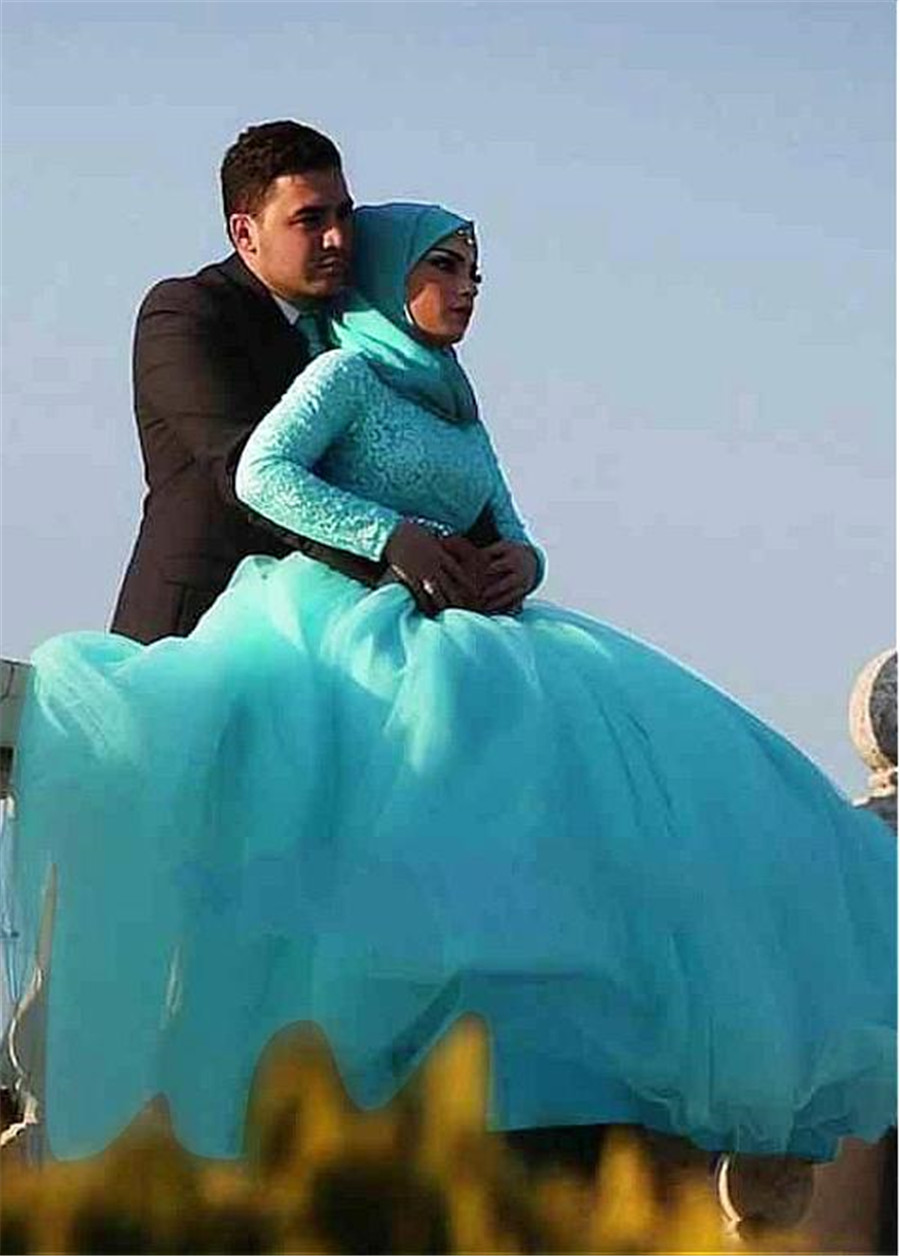 Image 3 - Gorgeous Tulle Natural Waisline Ball Gown Arabic Islamic Wedding Dresses with Rhinestones Belt Muslim Bridal Dress Blue-in Wedding Dresses from Weddings & Events