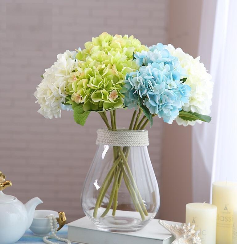Umělé hortenzie Květina Domácí strana Dekorativní květiny kvalitní hedvábí ručně vyráběné květiny