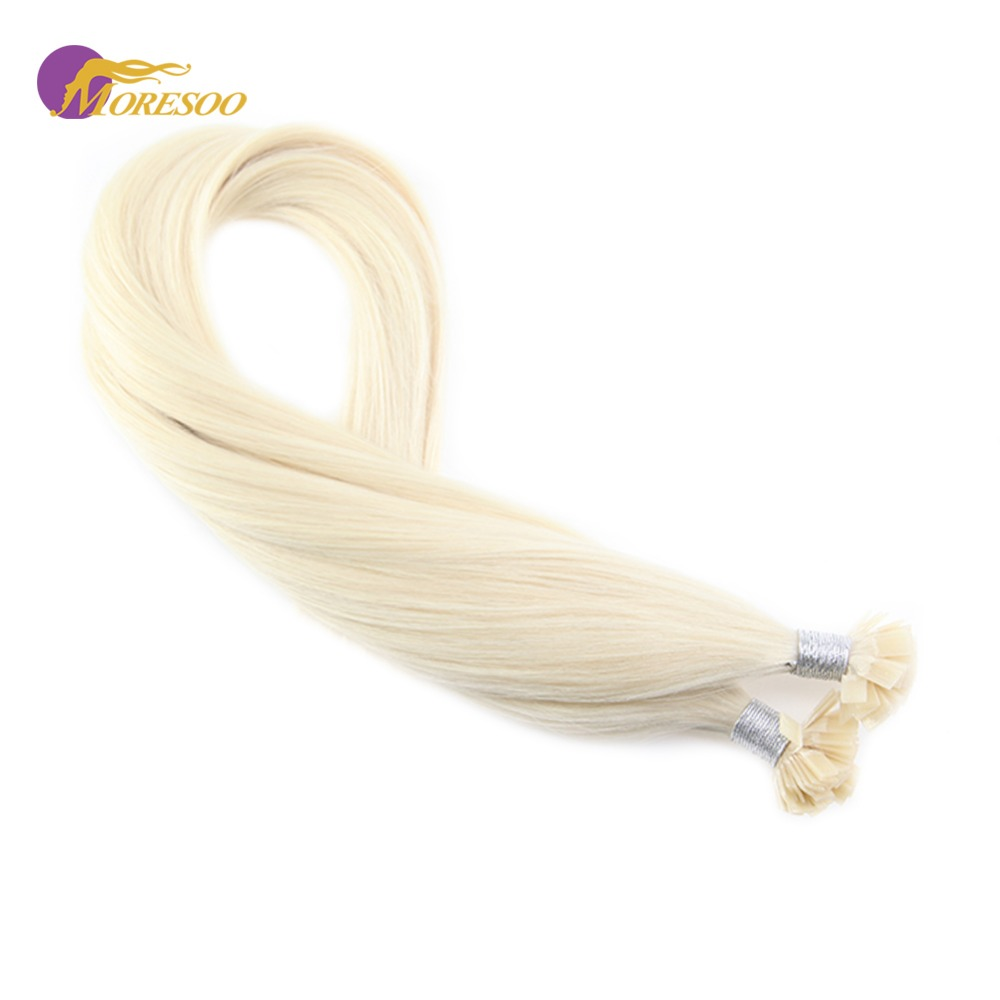 Moresoo Platinum Blonde #60 Straight Fusion Keration Flat Tip Machine Remy Human Hair Extensions 1.0g/s 50g/pack