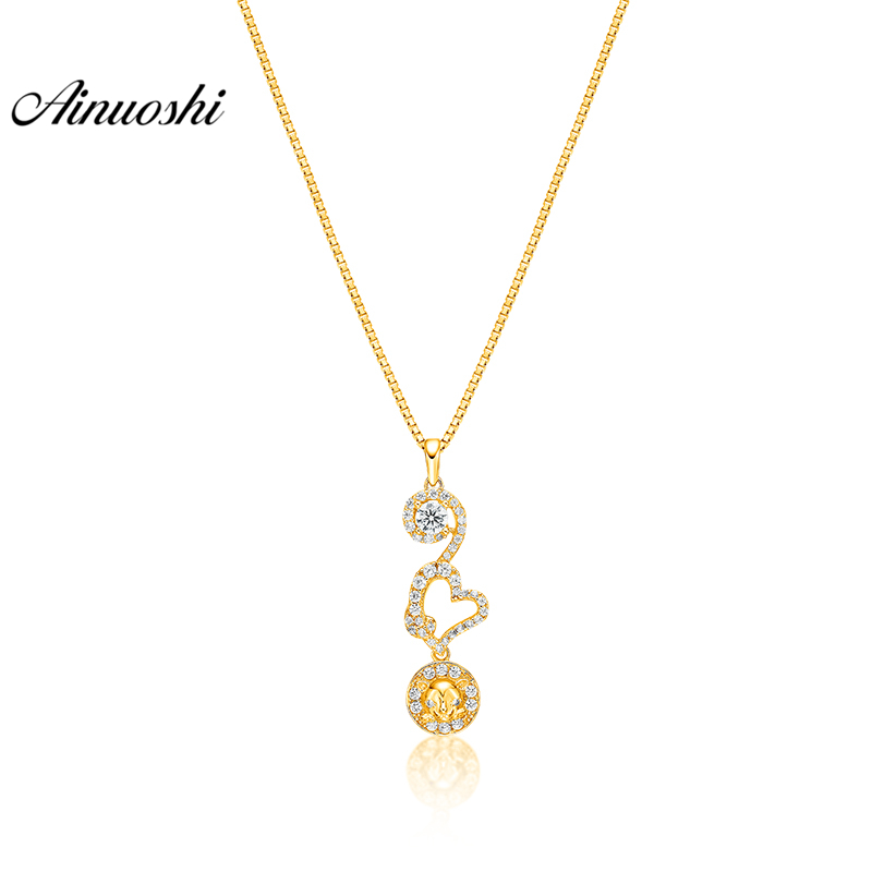 AINUOSHI 10K Solid Yellow Gold Pendant Heart Pendant SONA Diamond Women Men Children Jewelry Cute Leopard Head Separate PendantAINUOSHI 10K Solid Yellow Gold Pendant Heart Pendant SONA Diamond Women Men Children Jewelry Cute Leopard Head Separate Pendant