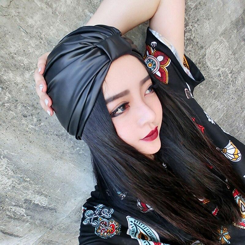 Custom Hand Made Women Winter Leather Cap Warm Punk Bow PU Hat Vintage All Match   Skullies     Beanies