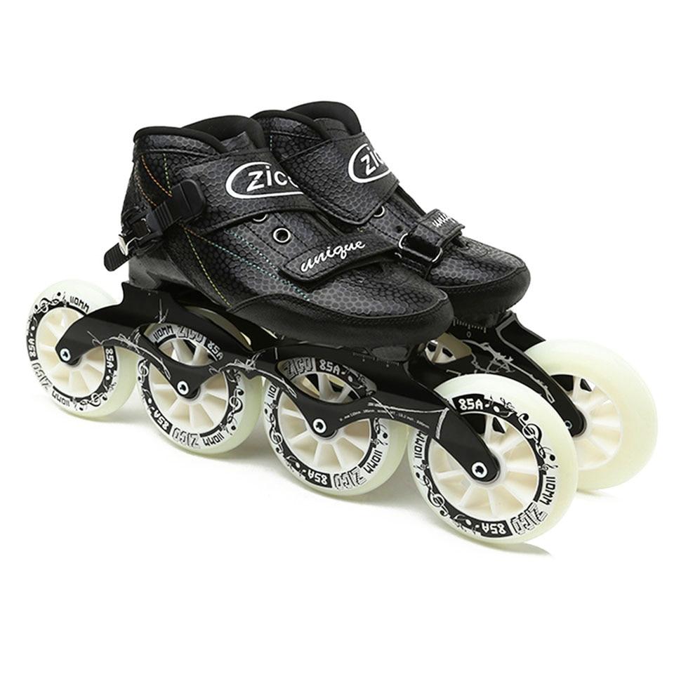JK ZICO Speed Inline Roller Skates Carbon Fiber Professional 4 Wheels Racing Skates For Kids Adult Patins Rollerblade SH48