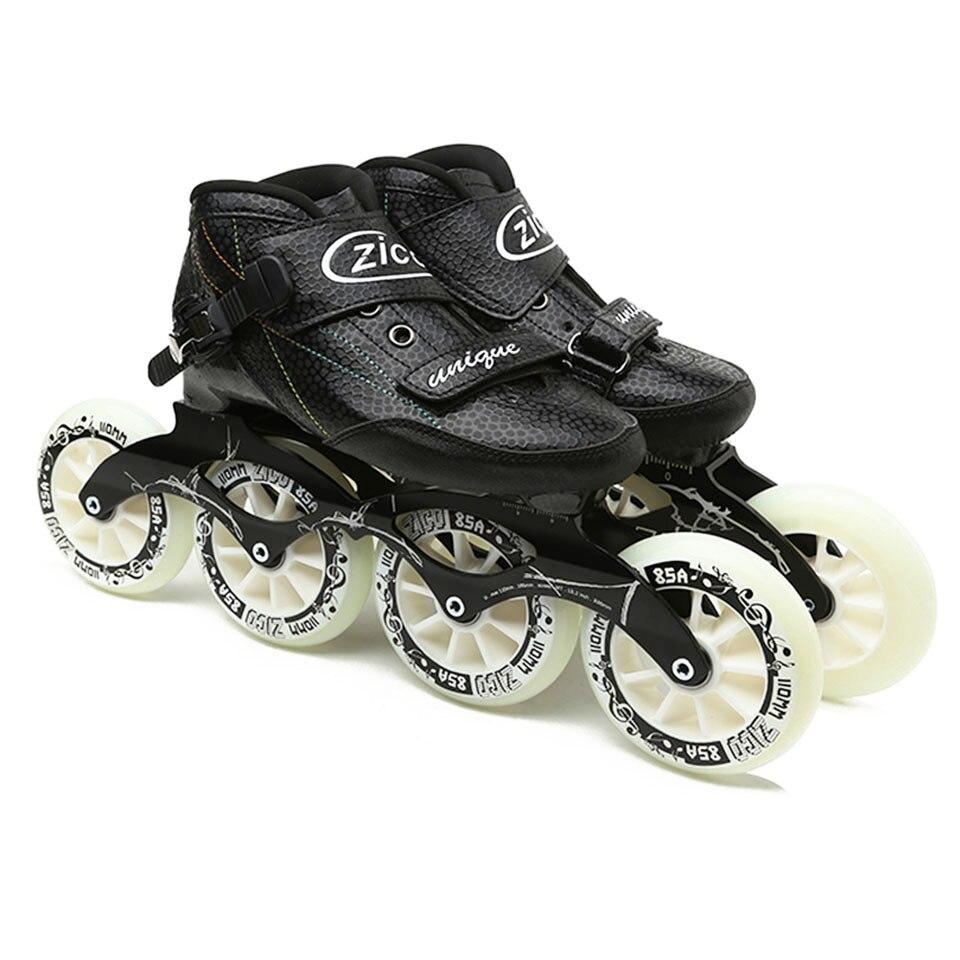 JK ZICO vitesse Patins à roulettes en Fiber de carbone professionnel 4 roues Patins de course pour enfants Patins adultes Rollerblade SH48