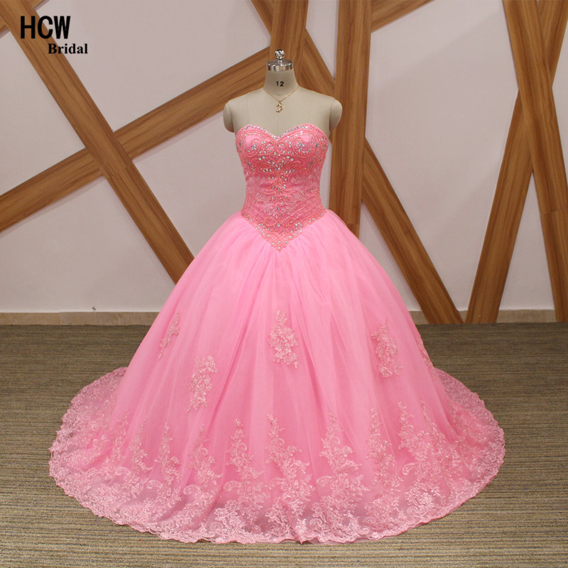 ae1d6617d00 Unique Pink Ball Gown Quinceanera Dresses Chic Beaded Lace Tulle Princess  Sweet 16 Girls Party Gowns 2019 New Quinceanera Dress