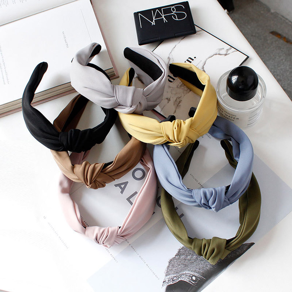 2020 Korean Knotted Hairband Solid Color Headband For Women Lady Summer Handmade Bowknot Hair Hoop Hair Accessories