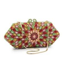 Для женщин Вечерние сумки дамы Кристалл Клатч женский Красочные Свадебная вечеринка кошельки (88210-RG)