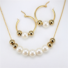 stainless steel Fashion Jewelry Sets Imitation Pearl Necklace and Earrings Statement Women with Rhinestone free shipping LH102