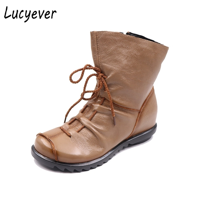 Lucyever 2017 Autumn Winter Vintage Genuine Leather Women Handmade Ankle Boots Leisure Flats Platform Shoes Woman Big Size 35-42