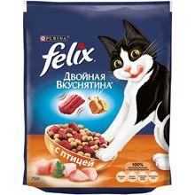 Сухой корм Felix Двойная вкуснятина для кошек, с птицей, Пакет, 750 г