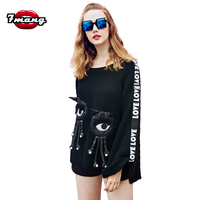 7mang 2018 autumn women cute black o neck fringe eye sweater loose street long sleeve party club pullover sweater