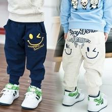 Лидер продаж, Детские хлопковые штаны, повседневные штаны для мальчиков и девочек, 2 цвета, детские спортивные штаны, штаны-шаровары