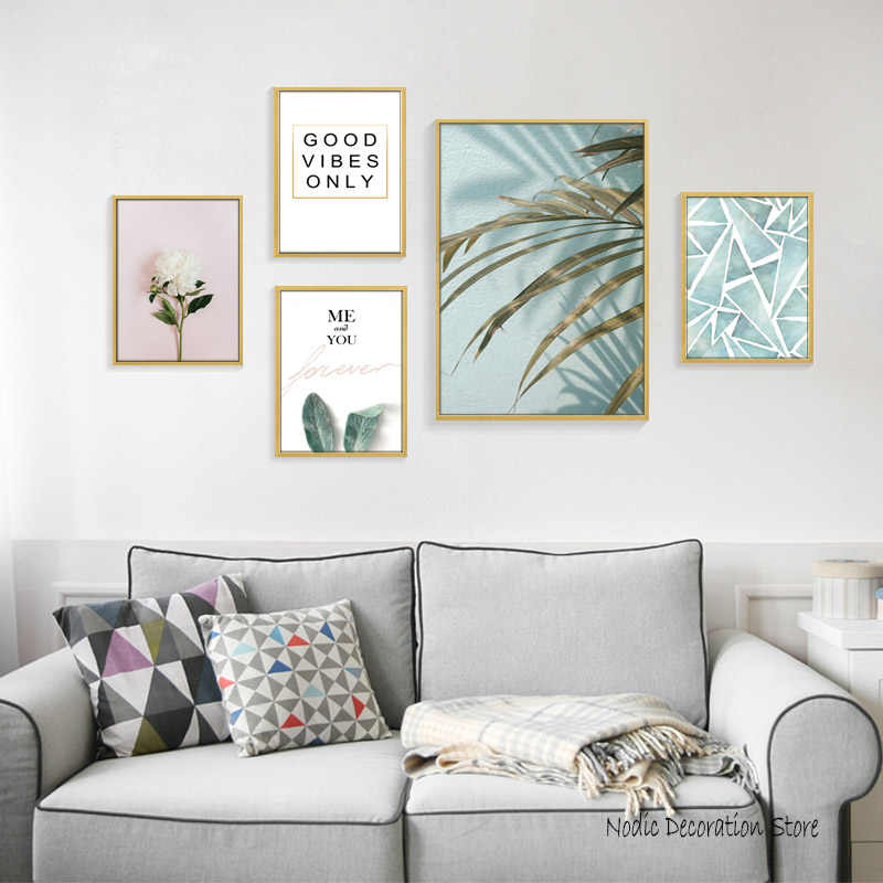 Nordic Decoration Home Green Leaf Plant Posters And Prints Pink Flower Canvas Art Wall Painting Abstract Canvas Prints Unframed