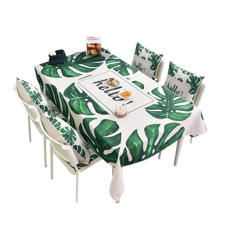Table Cloth Leaf Pattern Rectangular Cotton Linen Tableclothe Wedding Christmas Party Decoration Tables Cover Home Textiles 2