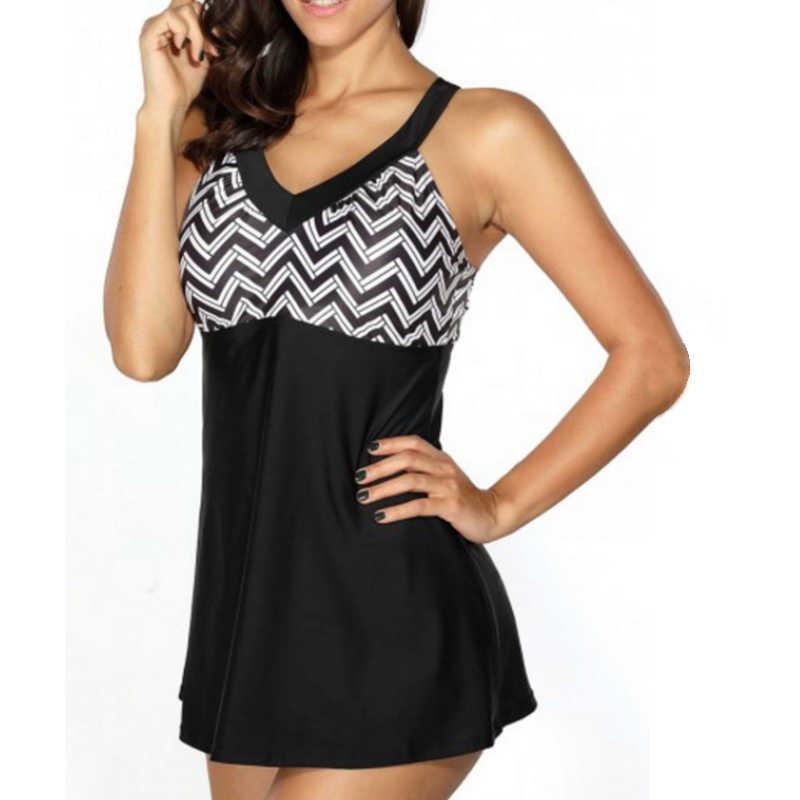 b935e61d4f22e ... Plus Size XL to 6XL Swimsuits Striped Print Women Bathing suit Retro  Cross Bandage Female Big ...
