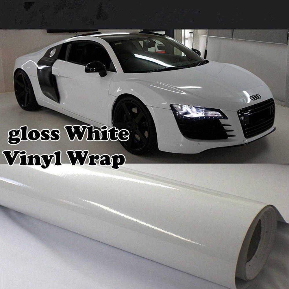 Film d'emballage en vinyle blanc brillant pour carrosserie, autocollant auto-adhésif 60