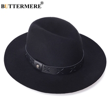 BUTTERMERE Black Fedoras Men Wool Felt Hat Women Wide Brim P
