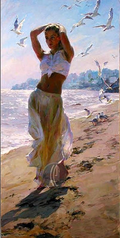 Original High Quality Portrait Oil Paintinggirls Beach -5684