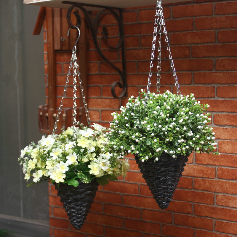 Plastic Hanging Baskets For Plants: 1 Set Artificial Flowers With Willow Basket Hanging Fake