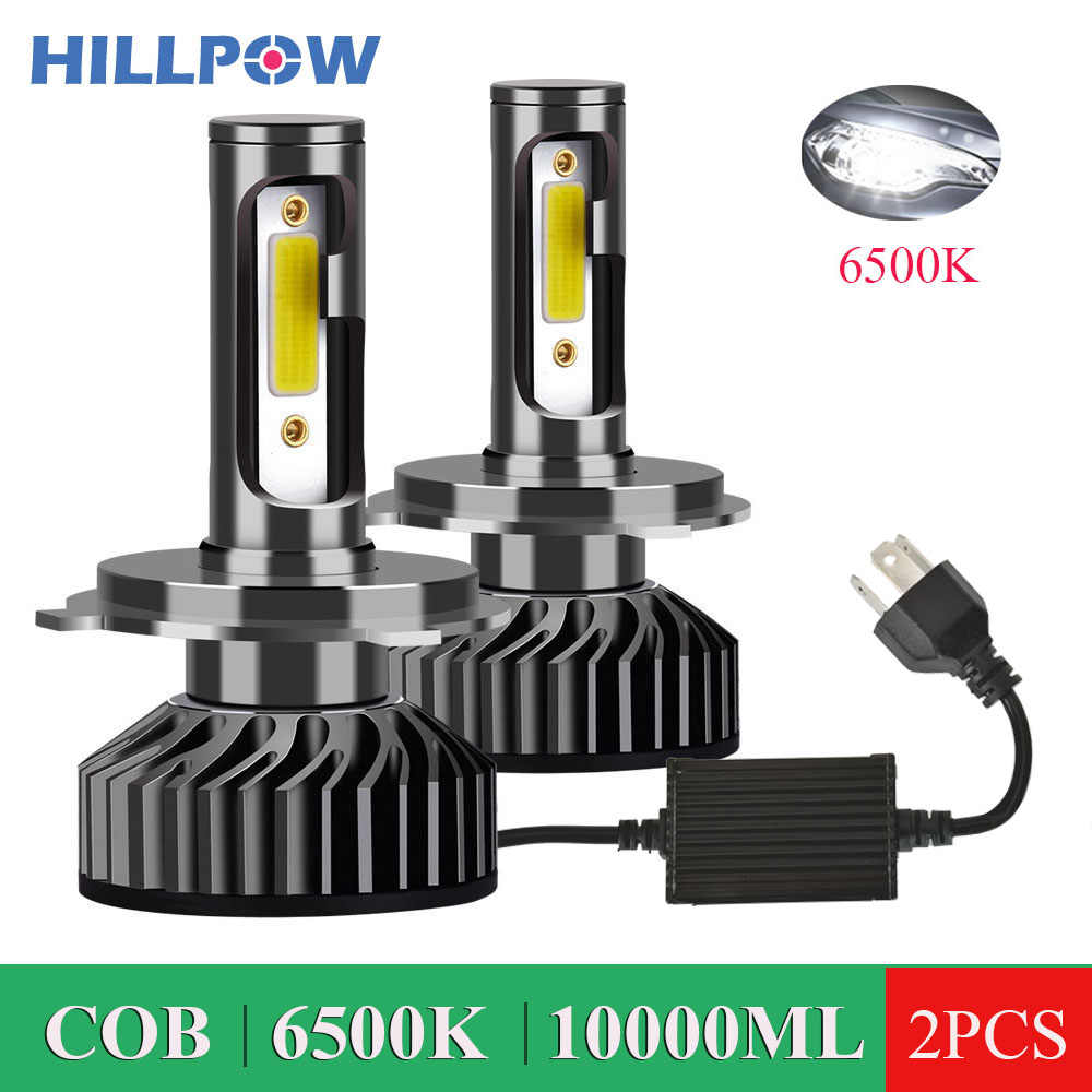 Hillpow Car Headlight H4 LED H7 LED H1 H11 H3 H13 H27 880 9006 9007 72W 10000LM 6500K 12V 24V Auto Headlamp COB Fog Light Bulb