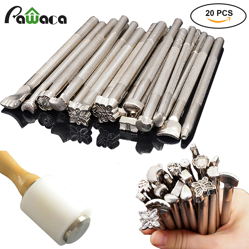 20pcs DIY Leather Working Saddle Stamping Tools Set for Leathercraft Working Carving Handmade Art Carving Hammer Cowhide Tool
