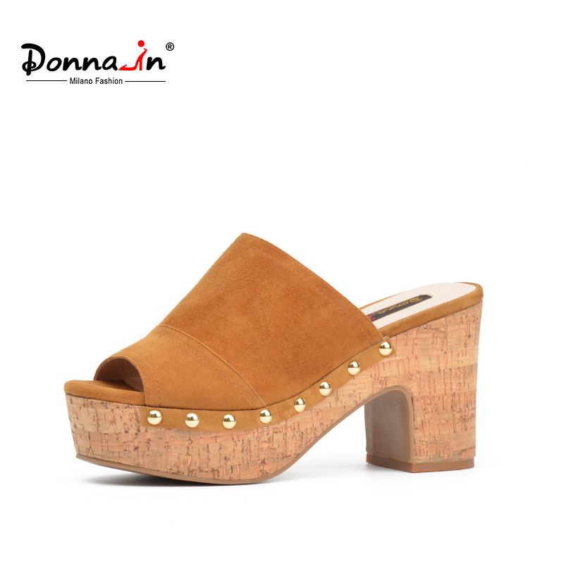 Donna-in 2018 Summer New Genuine Leather Women Slippers Platform High Heels Shoes Fashion Slides Natural Suede Sandals for Woman brown women slippers super high heels with platform slides scarpe donna sandali 2017 fashion summer women shoes plus size