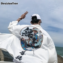 2019 men japanese kimono kongfu coat male loose cardigan overcoat traditional asian clothes