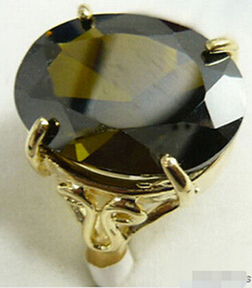 Hot sell Black Cubic Zirconia Yellow natural Ring Size 6-9 >Bridal jewelry free shipping