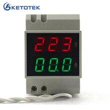 Din-рейка двойной светодиодный цифровой вольтметр переменного тока Амперметр Напряжение Амперметр вольт ток Панель тестер AC80-300V переменного тока 200-450 в 0,1-99.9A