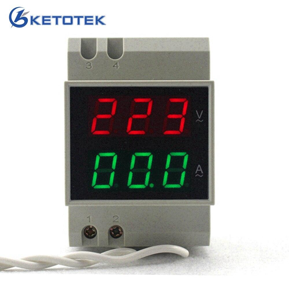 Din Rail Dual Led Digital AC Voltmeter Ammeter Voltage Ampere Meter Volt Current Panel Tester AC80-300V AC 200-450V 0.1-99.9A