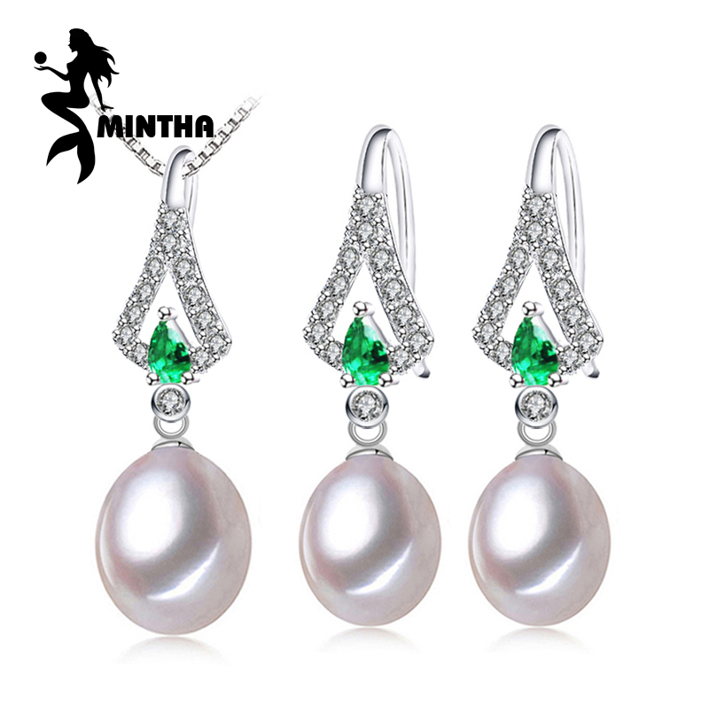 MINTHA Pearl Jewelry Sets,Pearl Pendant Necklace Earrings For Women,fine engagement ring Leaves Emerald leaf big earrings set delicate maple leaf shape rhinestone and faux pearl necklace and earrings for women